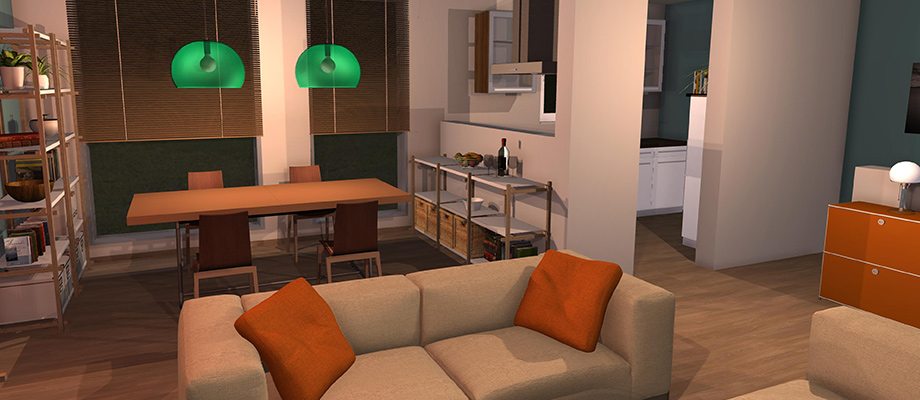 example room design Kitchen-Living Room