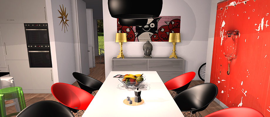 example room design Stylish plastic furniture by Kartell